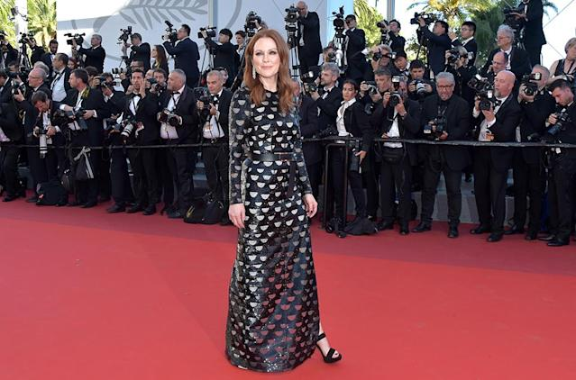 """<p>Julianne Moore at the <a href=""""https://www.yahoo.com/movies/tagged/cannes-film-festival"""" data-ylk=""""slk:Cannes Film Festival"""" class=""""link rapid-noclick-resp"""">Cannes Film Festival</a> <a href=""""https://www.yahoo.com/movies/film/okja"""" data-ylk=""""slk:Okja"""" class=""""link rapid-noclick-resp""""><em>Okja</em></a> screening on May 19, 2017 (Photo: Pascal Le Segretain/Getty Images) </p>"""