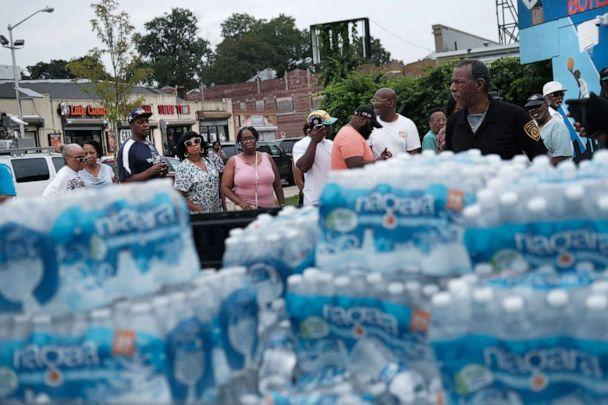 PHOTO: A pallet of bottled water is delivered to a recreation center, Aug. 13, 2019 in Newark, New Jersey. (Spencer Platt/Getty Images)