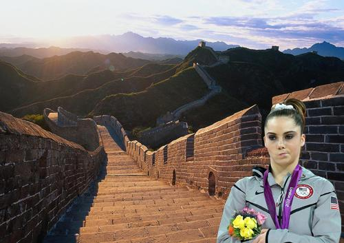McKayla Maroney is not impressed with the Great Wall of China.