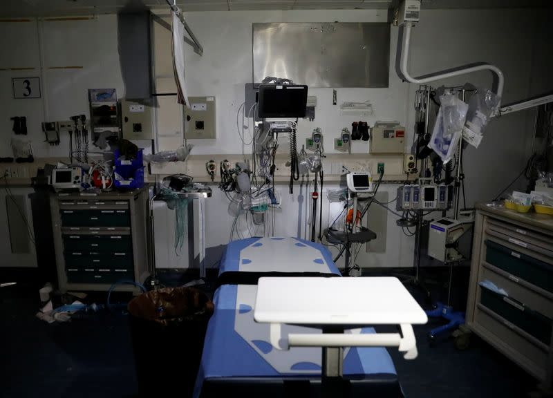 Empty bed is seen inside a clinic in Bagram U.S. air base, after American troops vacated it, in Parwan province
