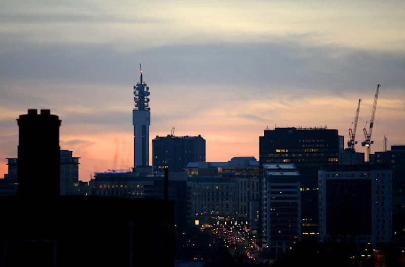 A general view of the Birmingham skyline at dusk taken from St. Andrews, home of Birmingham City Football Club