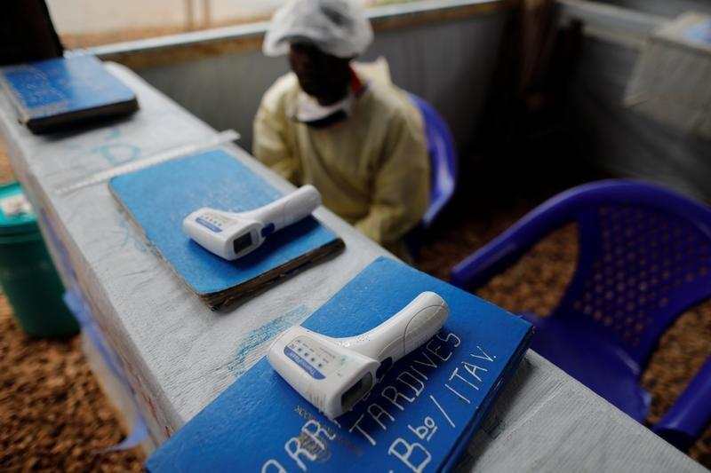 Thermometers are pictured at the entrance of an Ebola treatment centre in the Eastern Congolese town of Butembo