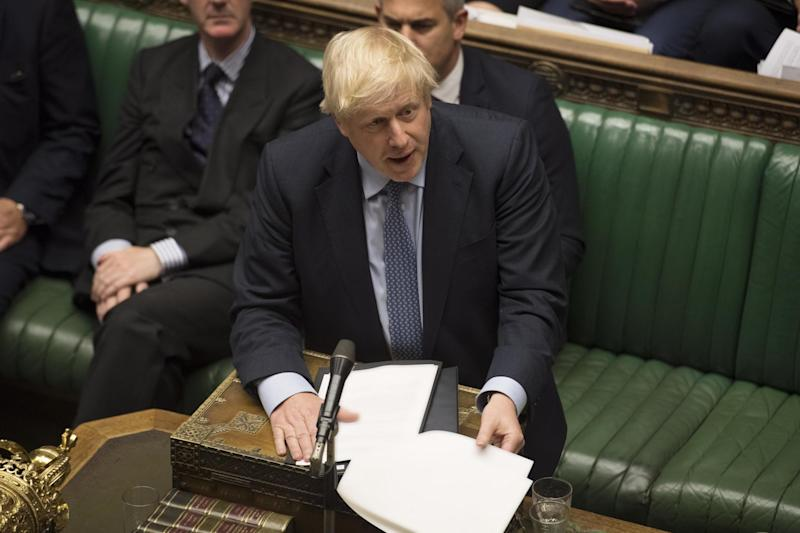 Boris Johnson addresses the Commons as MPs debate Brexit (EPA)