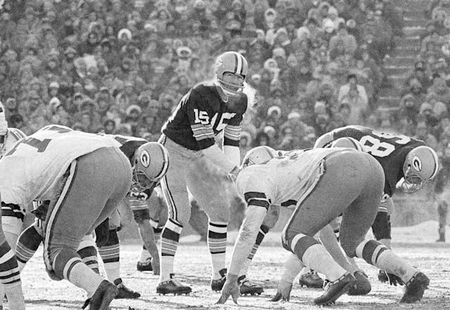 Bart Starr led the Packers to a legendary victory against the Cowboys in 1967, a game known as the Ice Bowl. (AP)