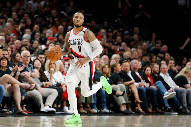 cf88d548041 Portland Trail Blazers star Damian Lillard has been playing with a  separated ribs injury. (