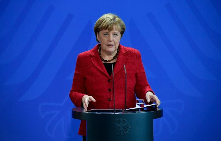 German Chancellor Angela Merkel gives a statement to comment on the result of the presidential elections in the US on November 9, 2016 in Berlin