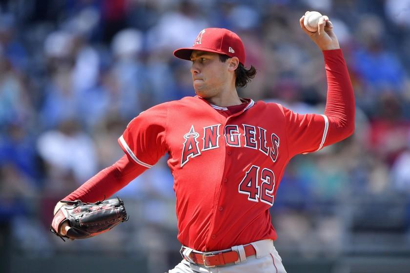 Los Angeles Angels starting pitcher Tyler Skaggs throws in the first inning during Monday's baseball game against the Kansas City Royals on June 25, 2018, at Kauffman Stadium in Kansas City, Mo. (John Sleezer/Kansas Ciy Star/Tribune News Service via Getty Images)