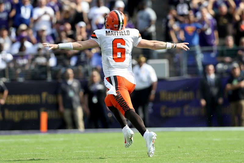 Baker Mayfield of the Cleveland Browns celebrates a Nick Chubb touchdown. (Getty Images)