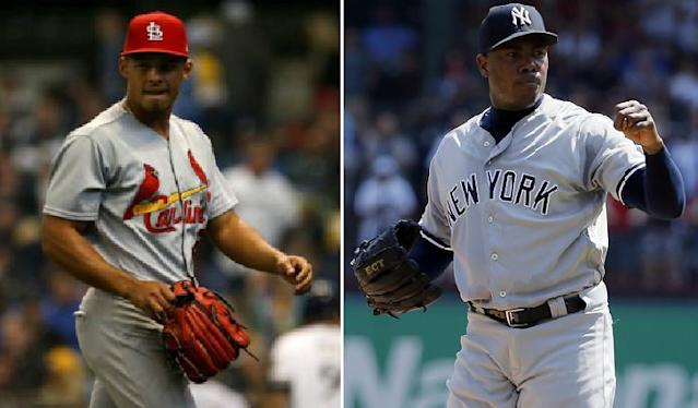 Cardinals rookie pitcher Jordan Hicks (left) is threatening to take Yankees' closer Aroldis Chapman's crown as MLB's hardest thrower. (AP Photos)