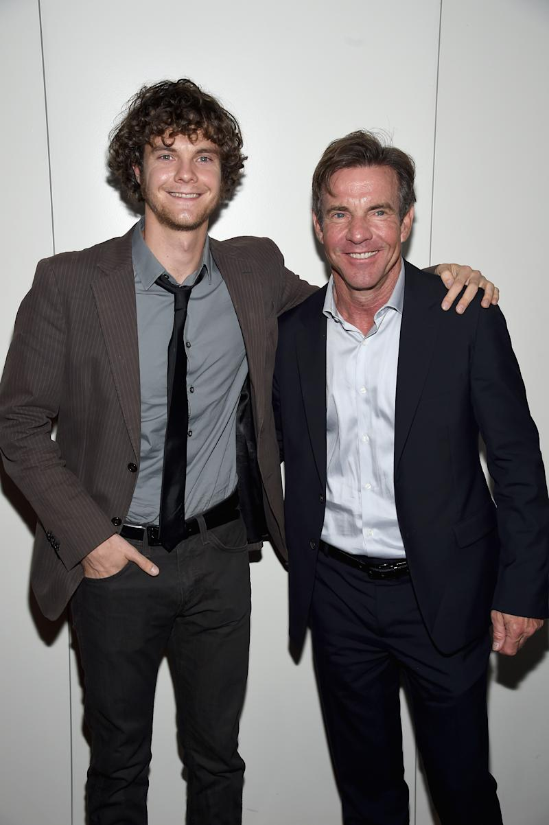 """Actors Jack Quaid (L) and Dennis Quaid attend the Armani and Cinema Society Screening of Sony Pictures Classics' """"Truth"""" after party at Armani Ristorante on October 7, 2015 in New York City."""
