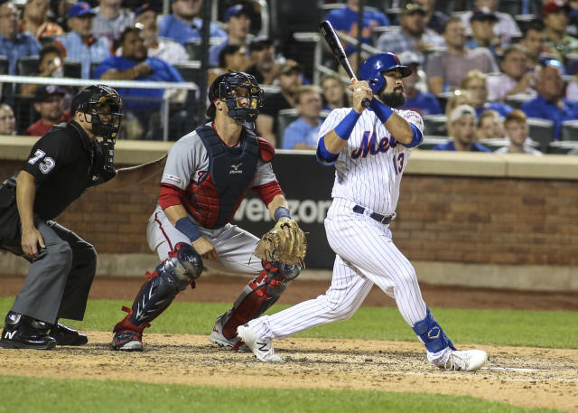 New York Mets infielder Luis Guillorme hit a game-tying solo home run in the eighth inning against the Washington Nationals on Saturday night. (USA Today Sports)