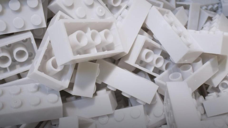 a photo of white recyclable LEGO pile