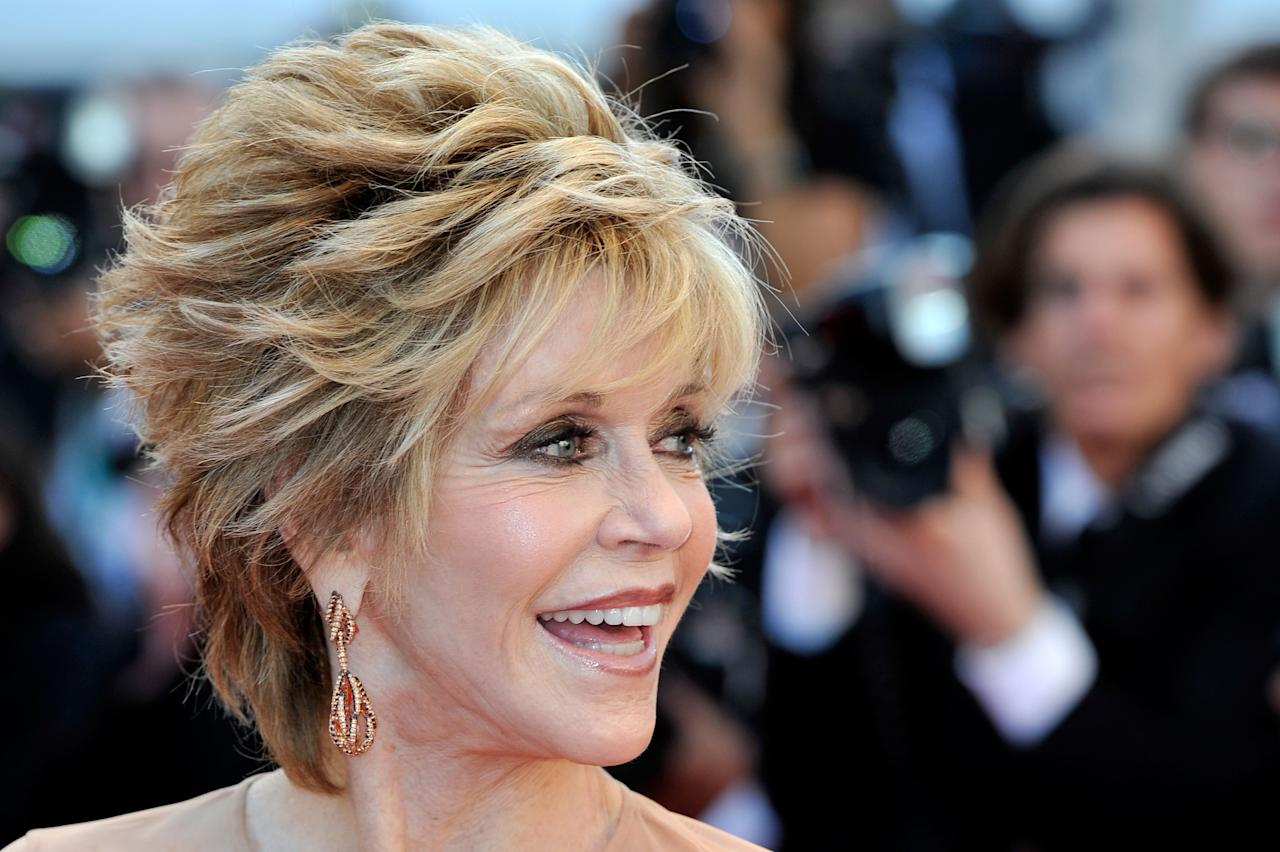 """CANNES, FRANCE - MAY 16:  Actress Jane Fonda attends opening ceremony and """"Moonrise Kingdom"""" premiere during the 65th Annual Cannes Film Festival at Palais des Festivals on May 16, 2012 in Cannes, France.  (Photo by Gareth Cattermole/Getty Images)"""