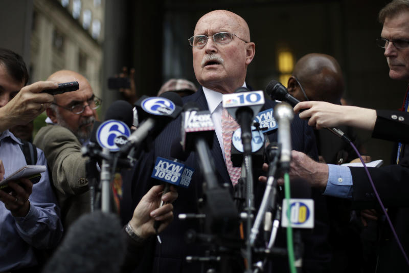 Kermit Gosnell's defense lawyer Jack McMahon speaks outside the justice center, Monday, May 13, 2013, in Philadelphia. Gosnell, accused of performing illegal, late-term abortions in a clinic has been found guilty of first-degree murder in the deaths of three babies born alive but acquitted in the death of a fourth baby. (AP Photo/Matt Rourke)
