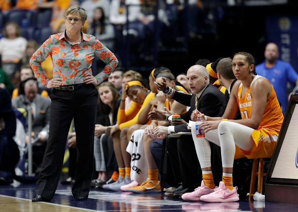 Tennessee head coach Holly Warlick watches the action in the second half of an NCAA college basketball game against South Carolina at the women's Southeastern Conference tournament Friday, March 2, 2018, in Nashville, Tenn. South Carolina won 73-62. (AP Photo/Mark Humphrey)