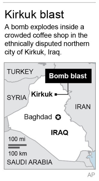 Map locates Kirkuk, Iraq; 1c x 3 inches; 46.5 mm x 76 mm;