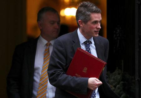 Britain's Secretary of State for Defence Gavin Williamson leaves 10 Downing Street, London