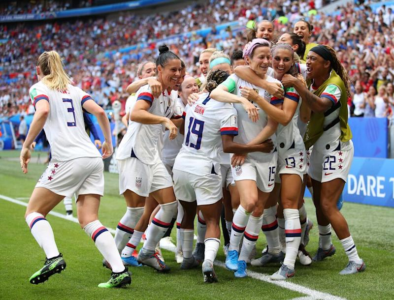 The team celebrating Rapinoe's game-winning goal in the 2019 Women's World Cup final | Richard Heathcote/Getty Images