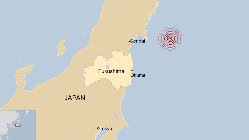 Map showing Fukushima Daiichi nuclear plant location in relation to the 2011 earthquake in Japan