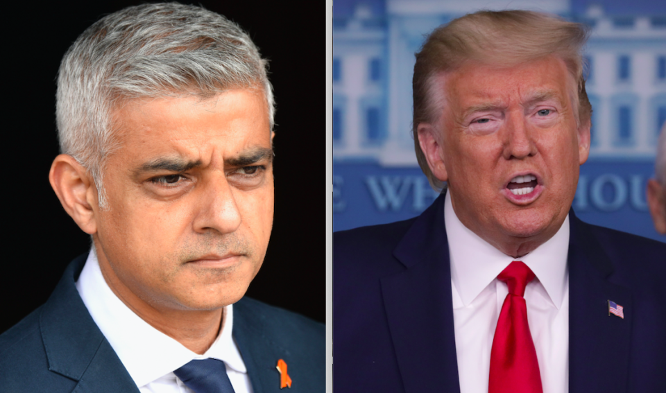 Sadiq Khan has criticised Donald Trump for describing Covid-19 as the 'Chinese Virus'. (Getty)