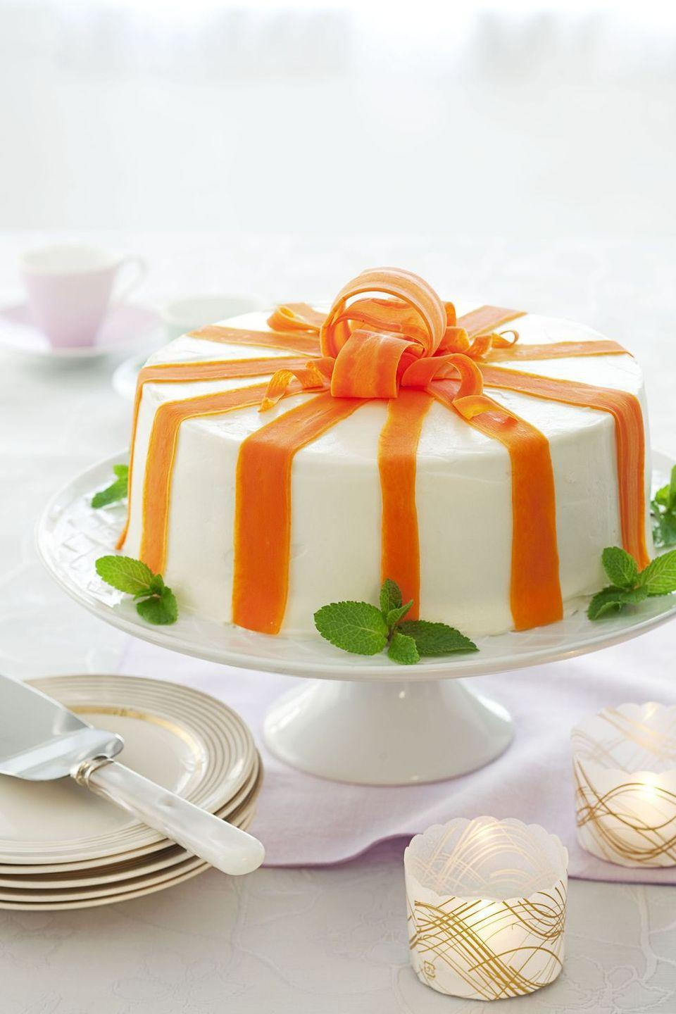 "<p>The only way to make a classic carrot cake even better is to decorate it like a pretty spring present. </p><p><em><a href=""https://www.goodhousekeeping.com/food-recipes/dessert/a19530/carrot-cake-recipe/"" rel=""nofollow noopener"" target=""_blank"" data-ylk=""slk:Get the recipe for Carrot Ribbon Cake »"" class=""link rapid-noclick-resp"">Get the recipe for Carrot Ribbon Cake »</a></em></p>"