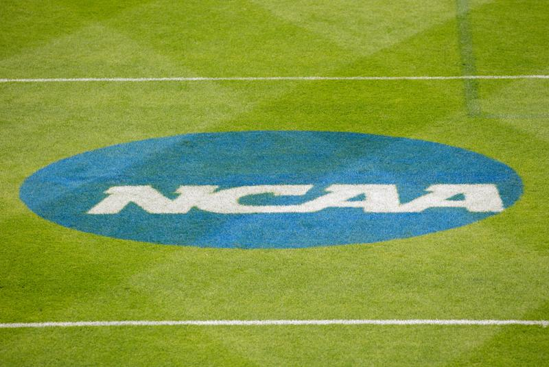 EAST HARTFORD, CT - MAY 19: General view of the NCAA logo prior to the Division 1 quarterfinal game between Loyola Greyhounds and Penn State Nittany Lions on May 19, 2019, at Rentschler Field in East Hartford, CT. (Photo by M. Anthony Nesmith/Icon Sportswire via Getty Images)