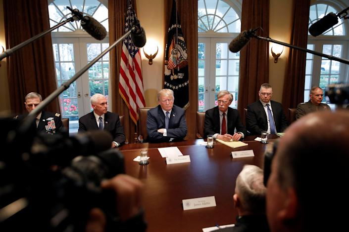 At a meeting with military leaders, President Trump pauses while speaking about special counsel Robert Mueller's investigation and the FBI raid on Michael Cohen's office. (Photo: Carlos Barria/Reuters)