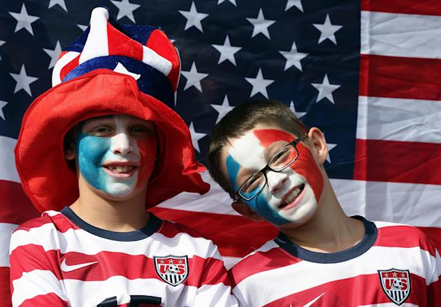 GLASGOW, SCOTLAND - JULY 25: USA fans during the Women's Football first round Group G Match of the London 2012 Olympic Games between United States and France, at Hampden Park on July 25, 2012 in Glasgow, Scotland. (Photo by Stanley Chou/Getty Images)