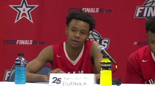 After losing in the state championships, Terrell Jones of the Eufaula High School basketball team talks about how much his coach changed his life. (Twitter/@RDiSangro__WTVY)