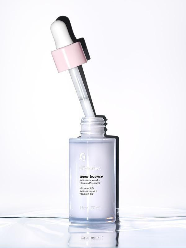 """<p>Dehydrated skin doesn't just mean dry patches, dehydrated skin also causes a a reduction in skin elasticity. Glossier's Super Bounce promises to bring that 'bounce' back and re-plump your skin with its blend of hyaluronic acid and B5. The cheaper price point means it's not as potent as some others, but is a good entry level into hyaluronic acids.</p><p><a class=""""body-btn-link"""" href=""""https://www.glossier.com/products/super-bounce"""" target=""""_blank"""">Buy now</a> Glosser.com, £24</p>"""