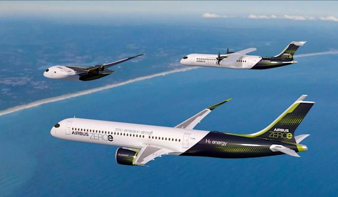 Computer-generated images show hydrogen-powered aircraft now being worked on by European planemaker Airbus. Photo: AFP