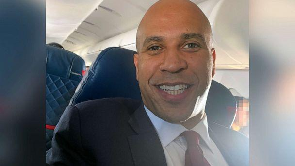 PHOTO: Democratic presidential candidate Cory Booker is pictured on a plane at Columbia Metropolitan Airport in West Columbia, S.C., Dec. 2, 2019. (Averi Harper/ABC News)