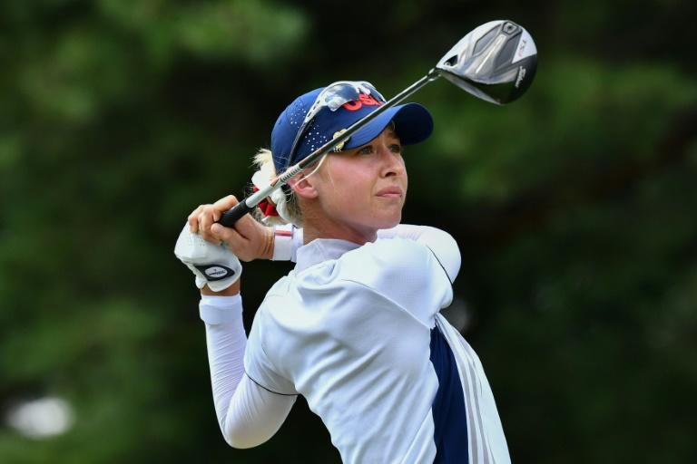 Nelly Korda drives from the ninth tee at the Kasumigaseki Country Club in Kawagoe on Wednesday