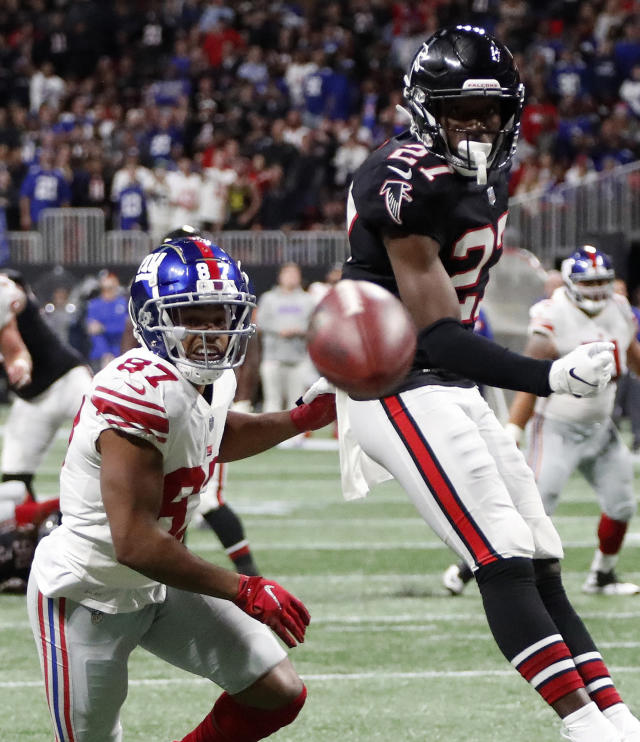 Atlanta Falcons strong safety Damontae Kazee (27) defends against New York Giants wide receiver Sterling Shepard (87) during the second half of an NFL football game, Monday, Oct. 22, 2018, in Atlanta. (AP Photo/John Bazemore)