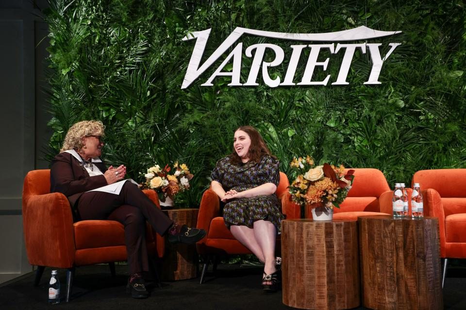 NEW YORK, NEW YORK - OCTOBER 12: Claudia Eller and Beanie Feldstein speak onstage during Variety LEGIT!: Return to Broadway presented by City National Bank at Second on October 12, 2021 in New York City. (Photo by Dimitrios Kambouris/Getty Images for Variety)