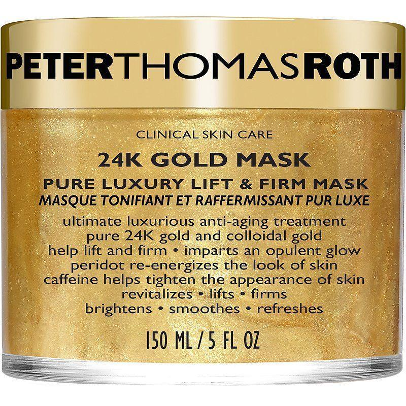 """<p><strong>Peter Thomas Roth</strong></p><p>amazon.com</p><p><strong>$85.00</strong></p><p><a href=""""https://www.amazon.com/dp/B00MFWW0FE?tag=syn-yahoo-20&ascsubtag=%5Bartid%7C10051.g.36816284%5Bsrc%7Cyahoo-us"""" rel=""""nofollow noopener"""" target=""""_blank"""" data-ylk=""""slk:Shop Now"""" class=""""link rapid-noclick-resp"""">Shop Now</a></p><p>If we're going to age, we might as well age in style. This gold mask tightens and lifts but most of all, makes you look chic as hell.</p>"""