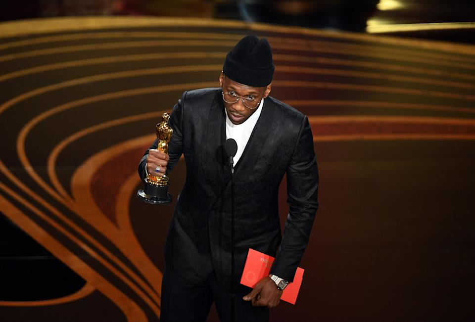 """Mahershala Ali accepts Best Actor in a Supporting Role award for """"Green Book"""" onstage during the 91st Annual Academy Awards. (Photo: Kevin Winter via Getty Images)"""