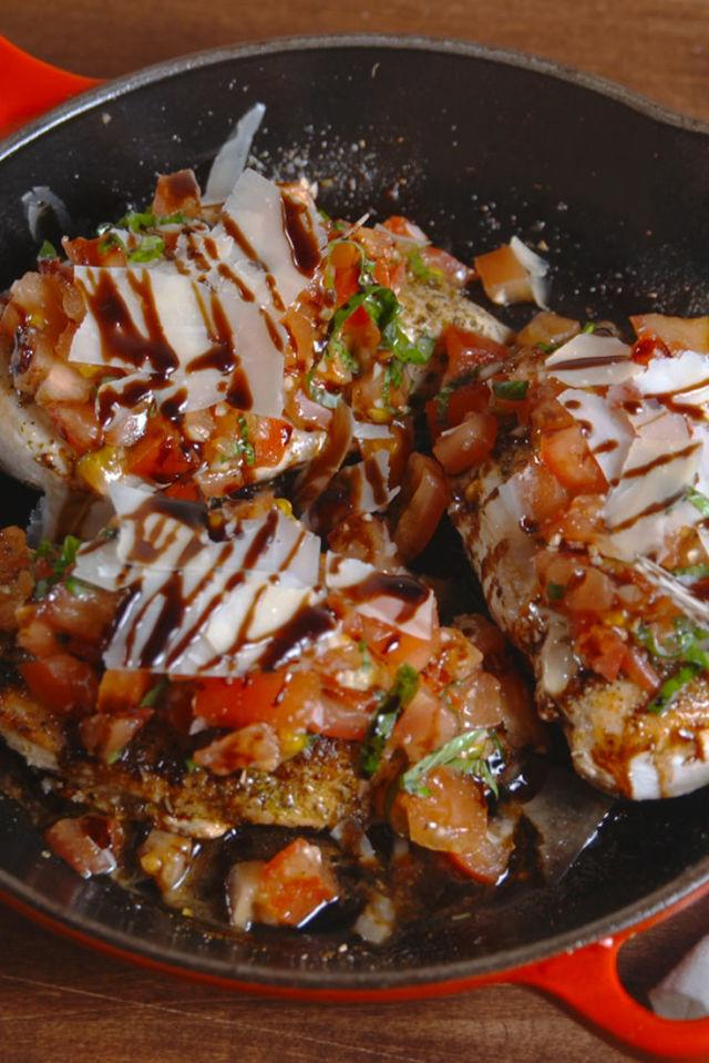 "<p>Our new weeknight fav.</p><p>Get the recipe from <a rel=""nofollow"" href=""http://www.delish.com/cooking/recipe-ideas/recipes/a51771/bruschetta-chicken-recipe/"">Delish</a>.</p>"