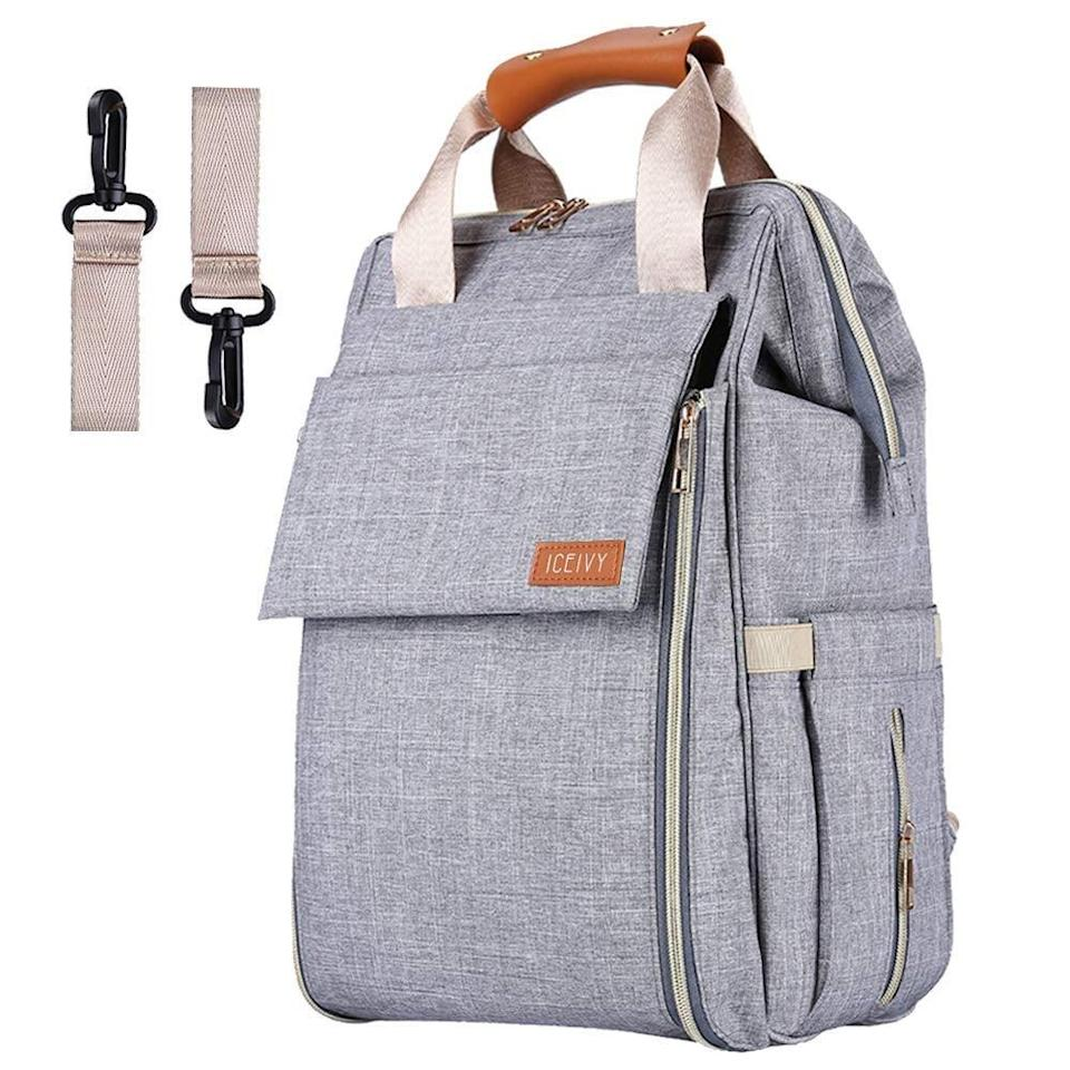 <p>If you want an easy-to-access changing pad that you don't have to dig around for, this <span>Diaper Bag Backpack</span> ($17) is for you. The front zipper opens up to unfold a changing pad. It also has stroller straps so you can hang it easily.</p>