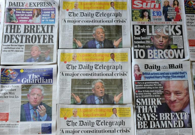 An arrangement of daily newspapers spotlight Speaker of the House of Commons John Bercow's ruling that a further Parliamentary 'meaningful vote' on the Government's Brexit deal would not be possible in its current form