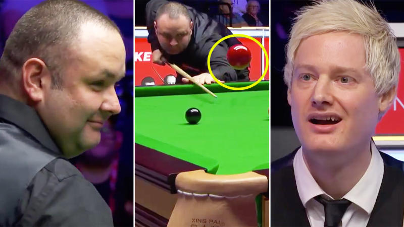 Aussie Neil Robertson is stunned after watching an incredible shot from Stephen Maguire who smiles after he hit the red ball into the air and watched it spin back into the pocket.