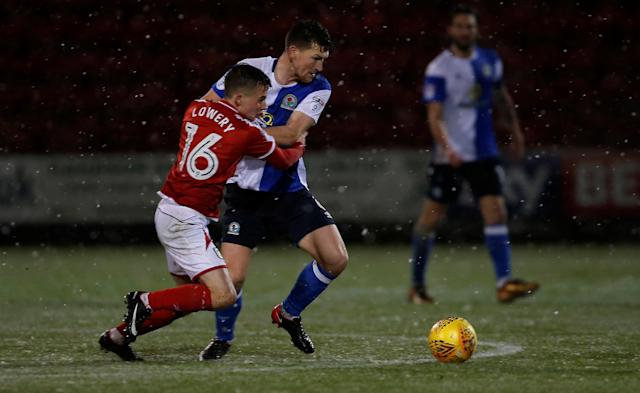 Soccer Football - FA Cup Second Round Replay - Crewe Alexandra vs Blackburn Rovers - The Alexandra Stadium, Crewe, Britain - December 13, 2017 Crewe Alexandra's Tom Lowery (L) in action with Blackburn Rovers' Richard Smallwood Action Images/Craig Brough