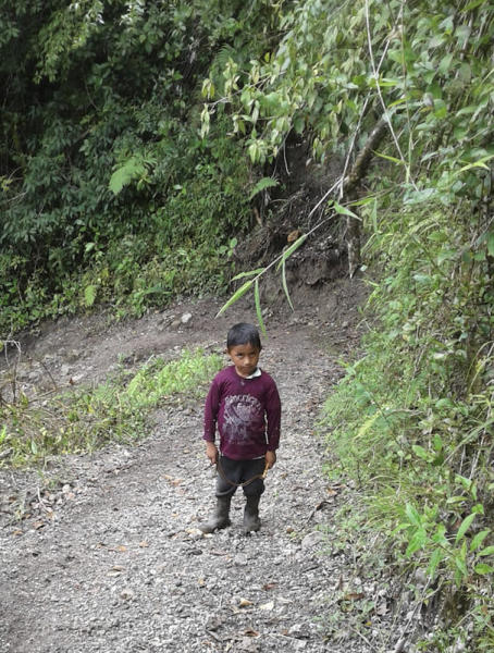 CORRECTS AGE AND SIBLING RELATIONSHIP - This undated photo provided by Catarina Gomez on Thursday, Dec. 27, 2018, shows her stepbrother Felipe Gomez Alonzo, 7, near Laguna Brava in Yalambojoch, Guatemala. Felipe died in U.S. custody at a New Mexico hospital on Christmas Eve after suffering a cough, vomiting and fever, authorities said. He was 8-years-old. The cause is under investigation. (Catarina Gomez via AP)