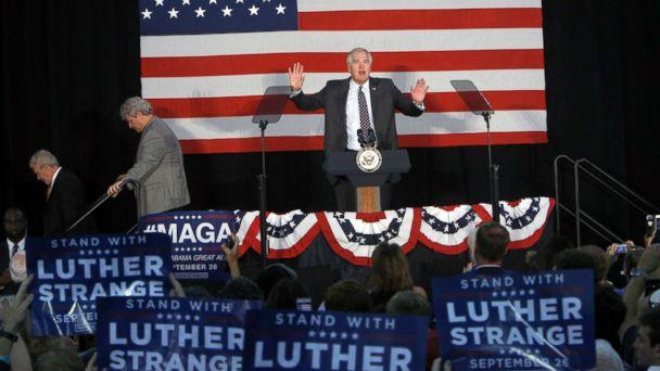 PHOTO: Sen. Luther Strange speaks at a campaign rally with Vice President Mike Pence at HealthSouth Aviation on September 25, 2017 in Birmingham, Alabama. ( Hal Yeager/Getty Images)
