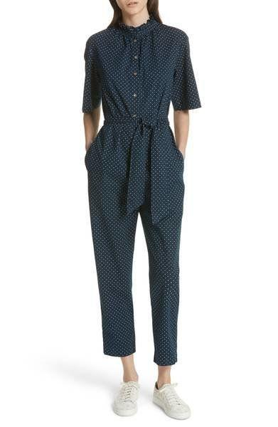 "Get it on <a href=""https://shop.nordstrom.com/s/la-vie-rebecca-taylor-dahlia-dot-jumpsuit/4885099?origin=category-personalizedsort&fashioncolor=MIDNIGHT%20NAVY"" target=""_blank"">Nordstrom for $295</a>."