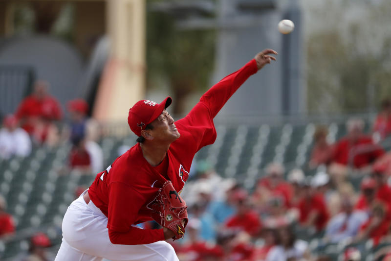 St. Louis Cardinals pitcher Kwang-Hyun Kim throws during the second inning of a spring training baseball game against the Miami Marlins Wednesday, Feb. 26, 2020, in Jupiter, Fla. (AP Photo/Jeff Roberson)
