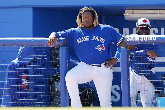 "Vladimir Guerrero Jr. will be on the <a class=""link rapid-noclick-resp"" href=""/mlb/teams/toronto/"" data-ylk=""slk:Toronto Blue Jays"">Toronto Blue Jays</a>, but just not on opening day. (Getty Images)"