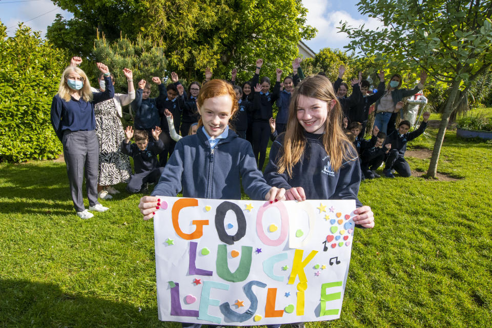 Staff and pupils cheer for Lesley Roy ahead of her Eurovision semi-final (Fintan Clarke/PA)