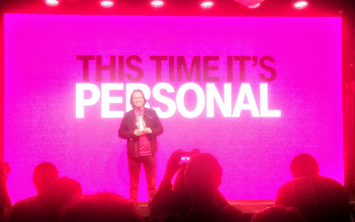 John Legere onstage at T-Mobile's Uncarrier 7.0 event