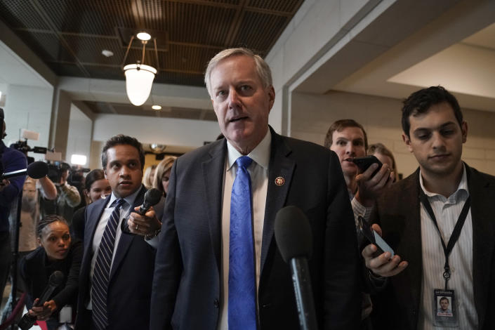 Rep. Mark Meadows, R-N.C., a member of the House Committee on Oversight Reform and an ally of President Donald Trump, speaks to reporters as he leaves the secure room at the Capitol as House investigators interview Jennifer Williams, a special adviser to Vice President Mike Pence for Europe and Russia who is a career Foreign Service officer, at the Capitol in Washington, Thursday, Nov. 7, 2019. (AP Photo/J. Scott Applewhite)